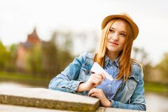 Young red haired girl royalty free stock image