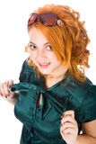 Young red-haired woman with glasses Royalty Free Stock Photo