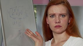Young red haired woman looking puzzled while solving math problem. Attractive female student looking confused during math class at college. Achievement stock photos