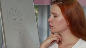 Young red haired woman looking puzzled while solving math problem. Attractive female student looking confused during math class at college. Achievement stock footage