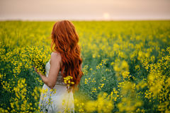 Young red-haired woman in a rapeseed field Stock Photo
