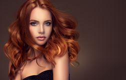 Red haired woman with voluminous, shiny and curly hairstyle. Flying hair. royalty free stock images