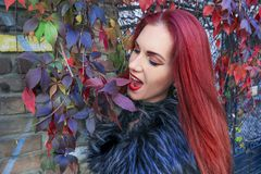 Young Red head gothic woman acting goofy and munching autumn leaves surrounded by vines stock photo