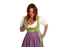 Young red head woman in traditional bavarian costume Royalty Free Stock Image