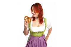 Young red head woman in traditional bavarian costume stock photos