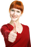 Young Redhaired Girl Show Sign Ok Royalty Free Stock Photos