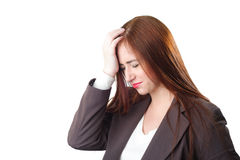 Young redhead Business woman with headache Stock Images