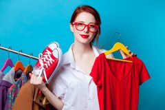 Businesswoman as startup tailor with clothes Royalty Free Stock Photos
