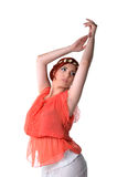 Young redhead dancer in ethnic costume Stock Photography