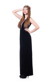 Young redhead girl in black long dress isolated on Stock Photos