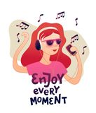 Young redhead girl listening to music with headphones vector design. royalty free illustration