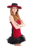 Young redhead girl in polka dot dress and  sombrero Royalty Free Stock Image