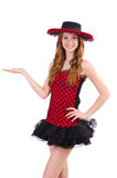 Young redhead girl in polka dot dress and  sombrero Stock Photo