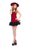 Young redhead girl in polka dot dress and  sombrero Stock Image
