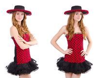 Young redhead girl in polka dot dress and  sombrero isolated on Stock Photography