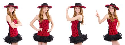 Young redhead girl in polka dot dress and  sombrero isolated on Stock Photo