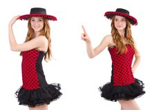Young redhead girl in polka dot dress and  sombrero isolated on Royalty Free Stock Photos
