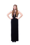 Young redhead gril in black long dress isolated on Stock Photography