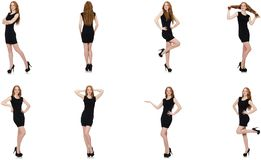 The young redhead lady in black dress. Young redhead lady in black dress stock photos