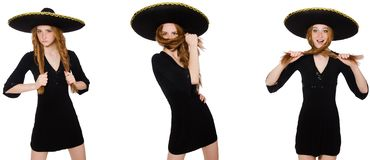 The young redhead lady in black dress with black sombrero. Young redhead lady in black dress with black sombrero royalty free stock photos
