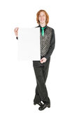 Young redhead man in costume for irish dance with empty banner. Isolated Royalty Free Stock Photo