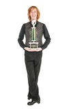 Young redhead man in costume for irish dance isolated. On white Stock Photo