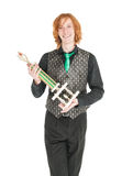 Young redhead man in costume for irish dance isolated. On white Royalty Free Stock Photography