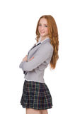 Young redhead student female isolated on white Stock Photo