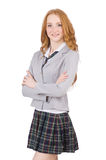 The young redhead student female isolated on white Royalty Free Stock Images