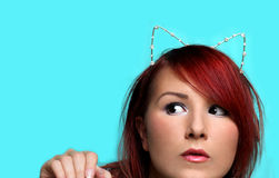Young redhead woman with cat ears portrait Royalty Free Stock Photo