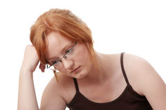 Young redhead woman with depression Stock Images