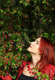 Young redhead woman enjoying cherry blossom in the sunshi Royalty Free Stock Photos