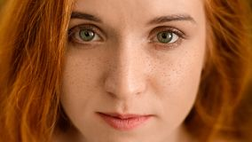 Young redhead woman with freckles looking at camera. Serious redhead woman with freckles looking at camera, closeup portrait stock photography