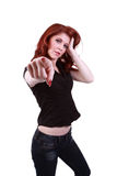 Young redhead woman pointing finger Stock Photography