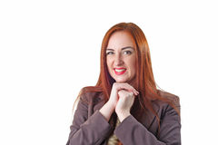 Young redhead woman portrait with disgust face expression stock photos