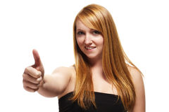 Young redhead woman showing thumbs up Royalty Free Stock Images
