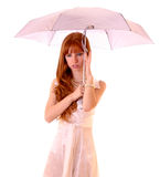 Young redhead woman with umbrella Royalty Free Stock Images