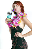 Young redhead woman on vacation Royalty Free Stock Image