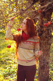 Young redheaded woman with long straight hair in the apple garde Stock Images