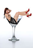 Young redheard woman in a martini glass Royalty Free Stock Photography