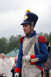 Young reenactor at Borodino battle historical reenactment in Russia royalty free stock photography