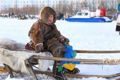 Young reindeer breeder Stock Photography