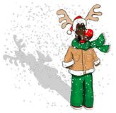 A young reindeer in the snow. Cartoon reindeer with Santa outfit Stock Photos