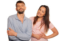 Young relaxed couple on a white background Stock Image