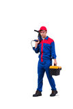 The young repairman with drill perforator isolated on white Stock Image