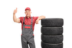 Young repairman giving a thumb up Royalty Free Stock Photography