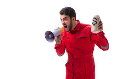 Young repairman with a megaphone and a money bag isolated on whi Stock Photo