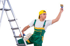 The young repairman painter climbing ladder isolated on white Stock Image