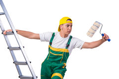 The young repairman painter climbing ladder isolated on white Royalty Free Stock Image