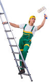 The young repairman painter climbing ladder isolated on white Royalty Free Stock Photo